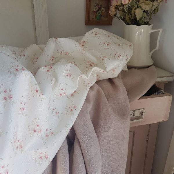 Cicely Trellis and Antiqued Rosa tumbled Linen by Rose and Foxgloves