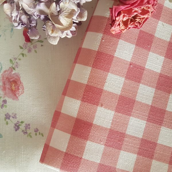 Berry and ivory linen gingham fabric