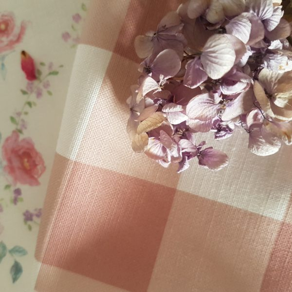 Chalk Pink & Ivory Large Check Gingham Linen Fabric