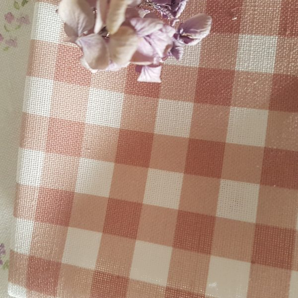 Chalk Pink and ivory linen gingham fabric