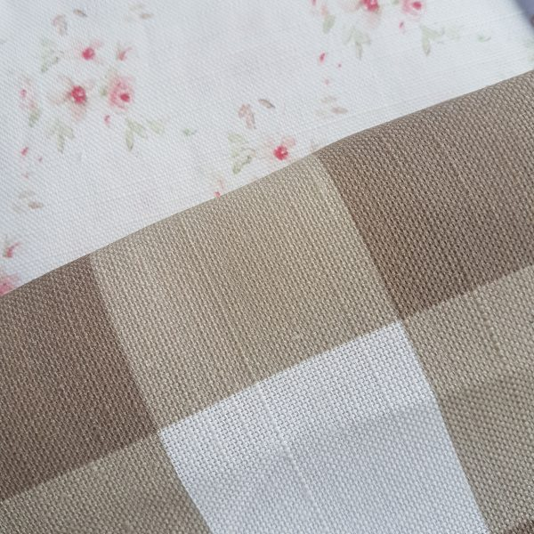 Large Check Gingham In Mouse and Ivory Linen Fabric