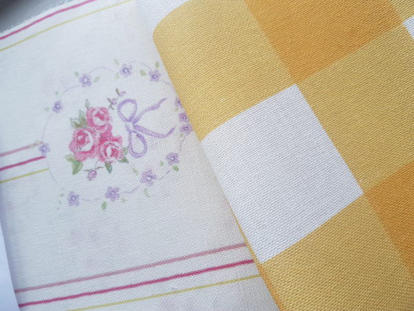 Saffron and ivory large check linen fabric
