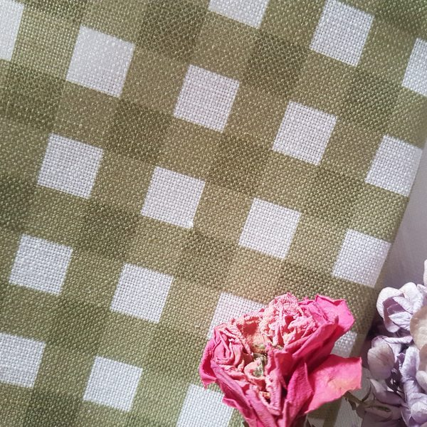 Moss and ivory Linen gingham fabric