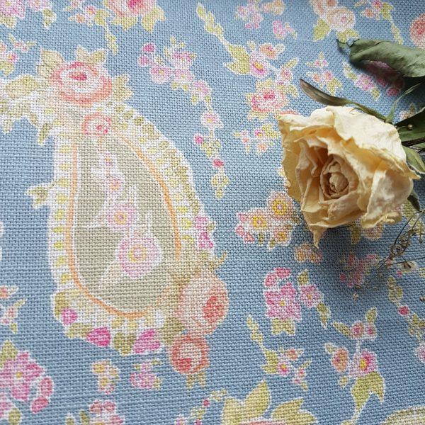 Muted Cornflower Vintage Paisley on Pretty Linen