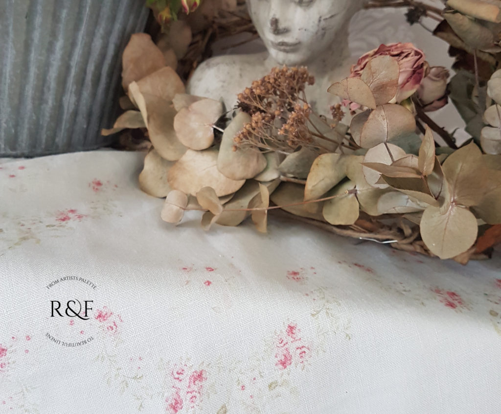 Rose and Foxgloves Soft faded Floral Linen Fabrics