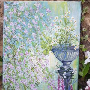 Cherry Blossom tree acrylic Signed Painting by Rose and Foxgloves
