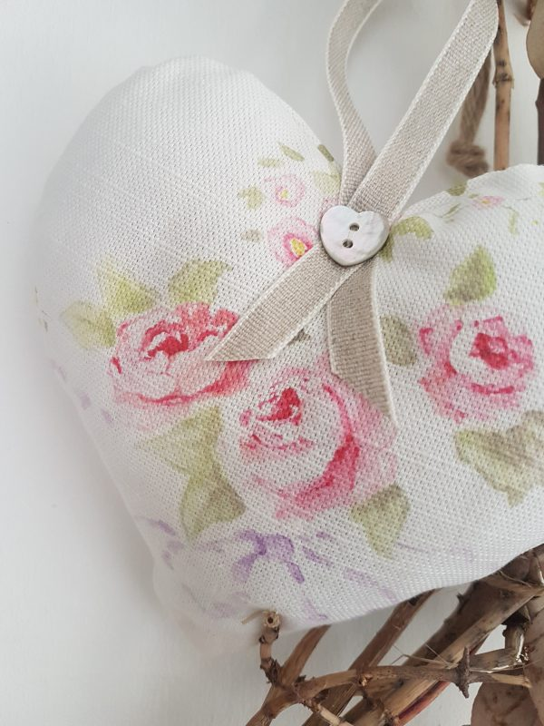 Rose and Bows Faded Floral Linen Fabric Lavender Hanging Gift Heart