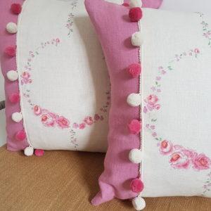 Rose and Foxgloves - Summer Wreath Linen Fabric Pair Cushions