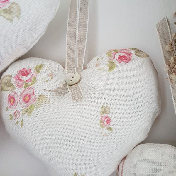 Pretty Eidelwiss Heart Hanger with a Chalk Pink Polka Dot reverse