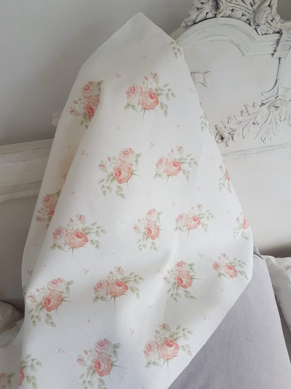 Austins Rose Faded Floral Linen Fabric by Rose and Foxgloves