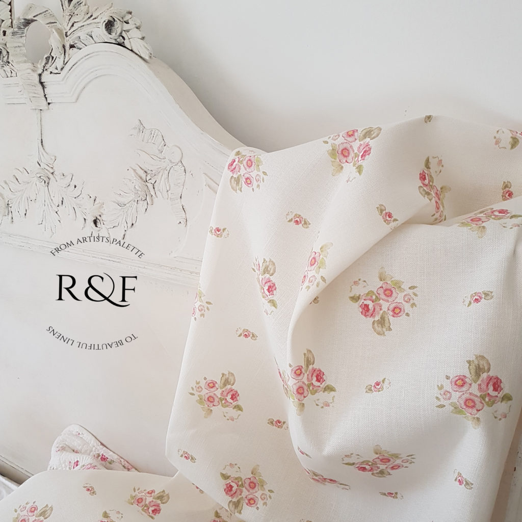 Rose and Foxgloves Eidelwiss Linen Fabric