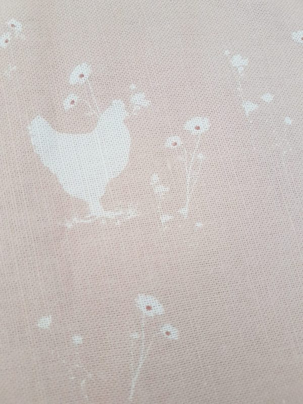 Meadow Hens and Chick Fabric in Pink