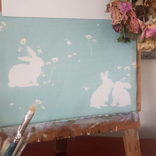 Turquoise Meadow Rabbits Fabric - Rose and Foxgloves