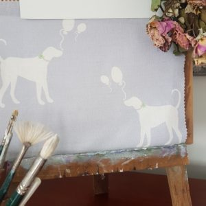 Party Dogs with Balloons in Lavender Linen Fabric.