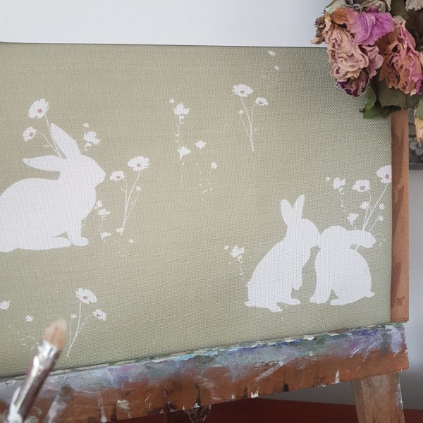 Meadow Rabbits in Pasture Green on a Linen Rich Fabric