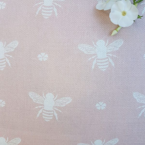 Bees in Pink Powder Linen by Rose and Foxgloves