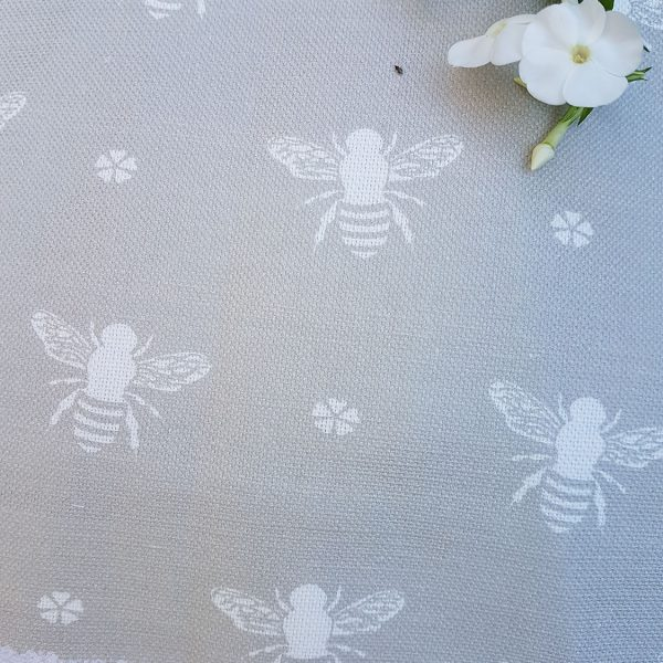 Bees Linen in Soft Clay by Rose and Foxgloves