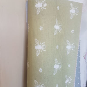 Bees in Summer Green Linen Fabric