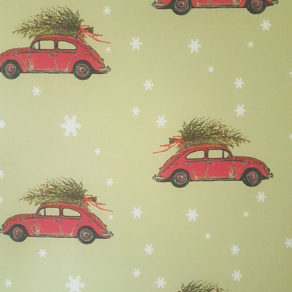 Bringing Home The Tree - Christmas Green Linen Fabric