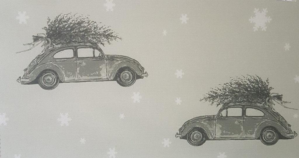 Bringing Home The Tree Sepia Christmas Grey Snowflake Linen