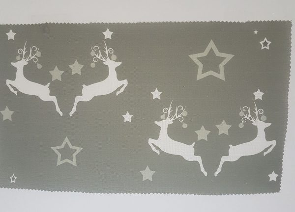 Christmas Dancing Stags and Baubles on Grey Linen Fabric- By Rose and Foxgloves