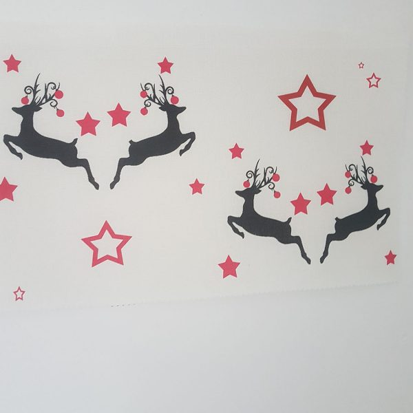 Christmas Dancing Stags and Baubles on Ivory Linen Fabric- By Rose and Foxgloves