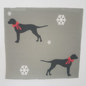 Christmas Dogs with Bows on Grey Snowflake Linen Fabric