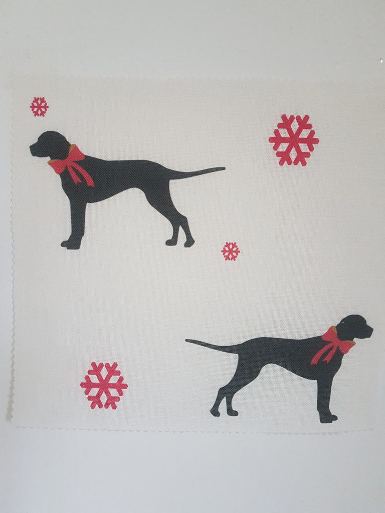 Christmas Dogs with Bows on Ivory Linen by Rose and Foxgloves