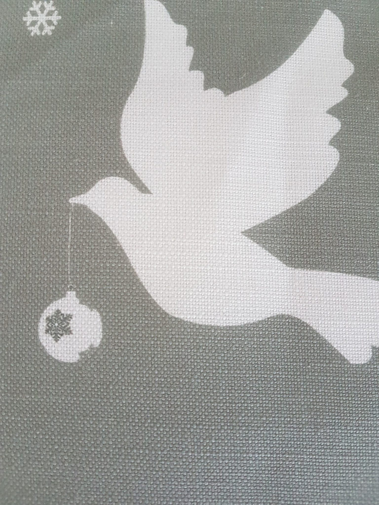 Christmas Doves and Baubles On Grey Linen Fabric