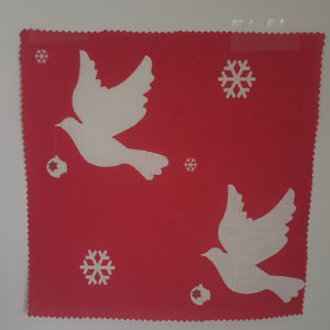 Christmas Doves with Baubles on Red Linen Fabric by Rose and Foxgloves