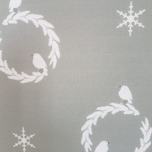 Christmas Robin and Wreath on Grey Linen Fabric by Rose and Foxgloves