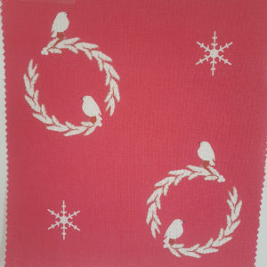 Robin and Wreath On Red Snowflakes Linen Fabric