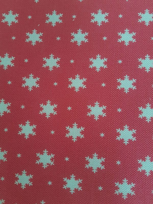 Christmas Snowflakes on Red Linen Fabric by Rose and Foxgloves