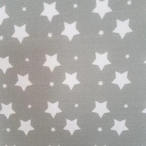 Christmas Stars on Grey Linen Fabric