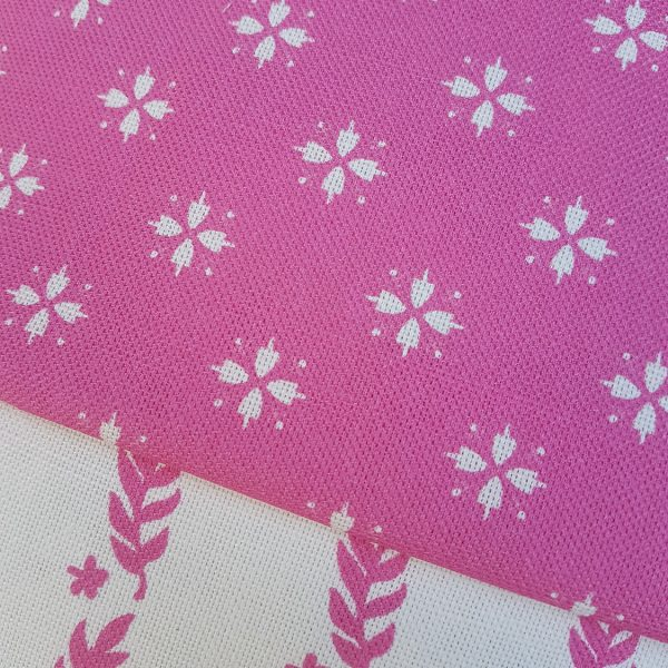Cottage Daisy Linen Fabric in Sweet Pea colourway- Rose and Foxgloves