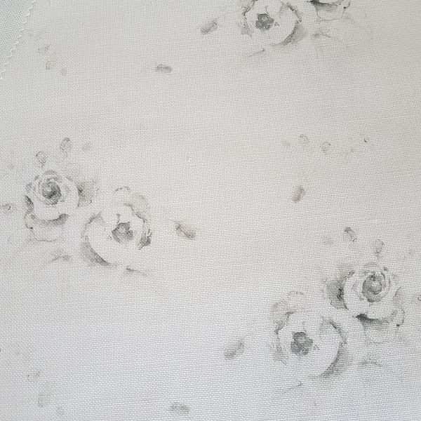 Emile- Grey Faded French Roses on an Ivory Linen