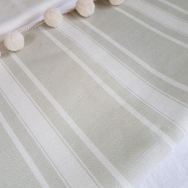 Emile-Grey Grainsack Stripes on an Ivory Linen