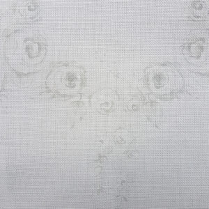 Faded Grey Gustavian Rose Swag on Antique Putty Linen Fabric.