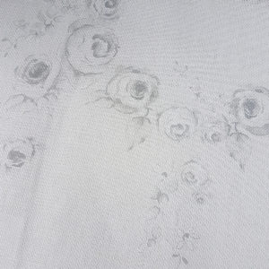Grey Gustavian Rose Swag on Antique Putty Linen Fabric