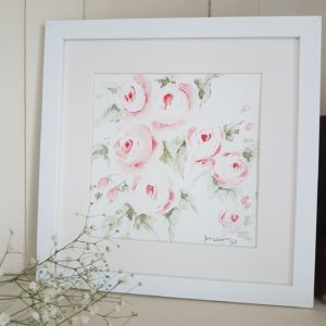 Rose and Foxgloves- Garden Roses Original signed watercolour painting
