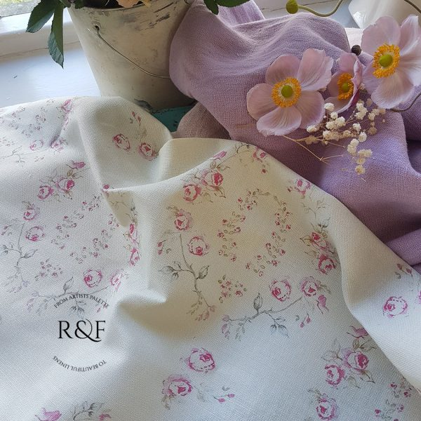 Millies Garden and Butterflies Floral Linen fabric