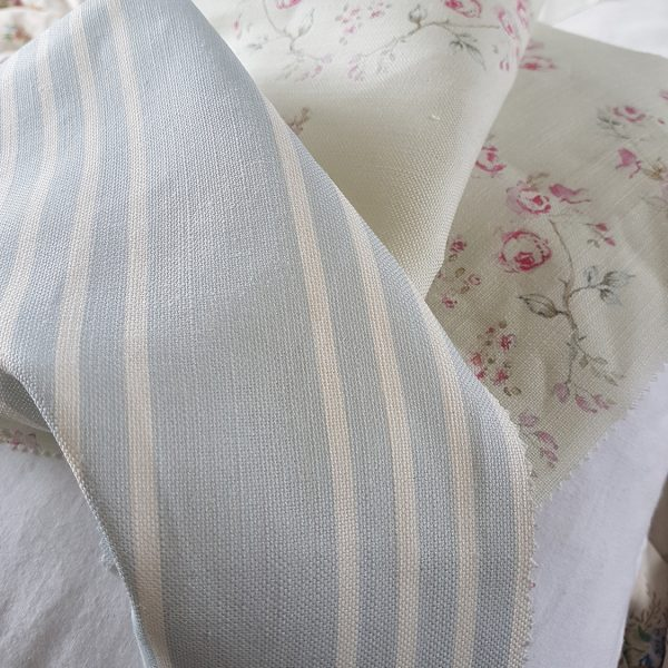 Soft Powder Blue Striped Fabric