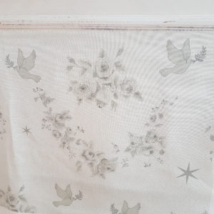 Grey Rose Swags, Doves and Stars Linen
