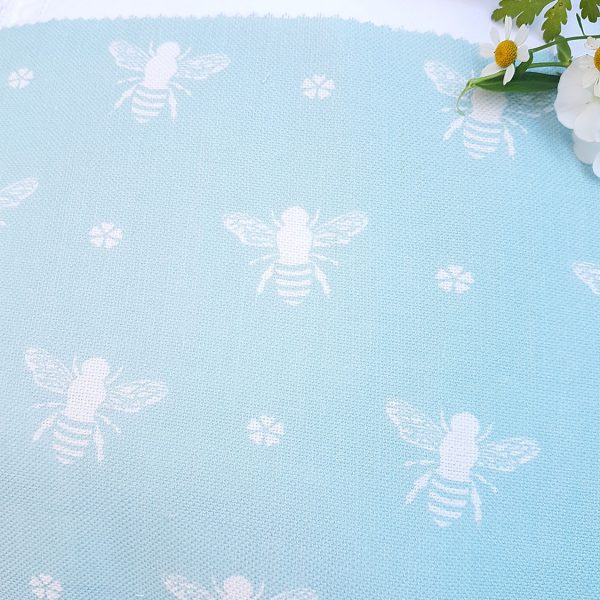 Gorgeous busy Garden Bees on Turquoise Ground Linen.