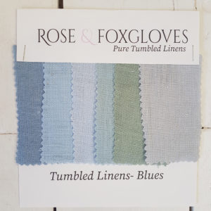 Tumbled linen colour card blue rose and foxgloves