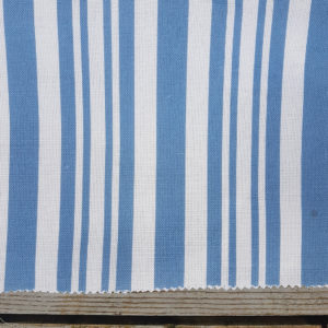 Nautical Stripe Linen Fabric- Shaker Blue and Salt Coastal