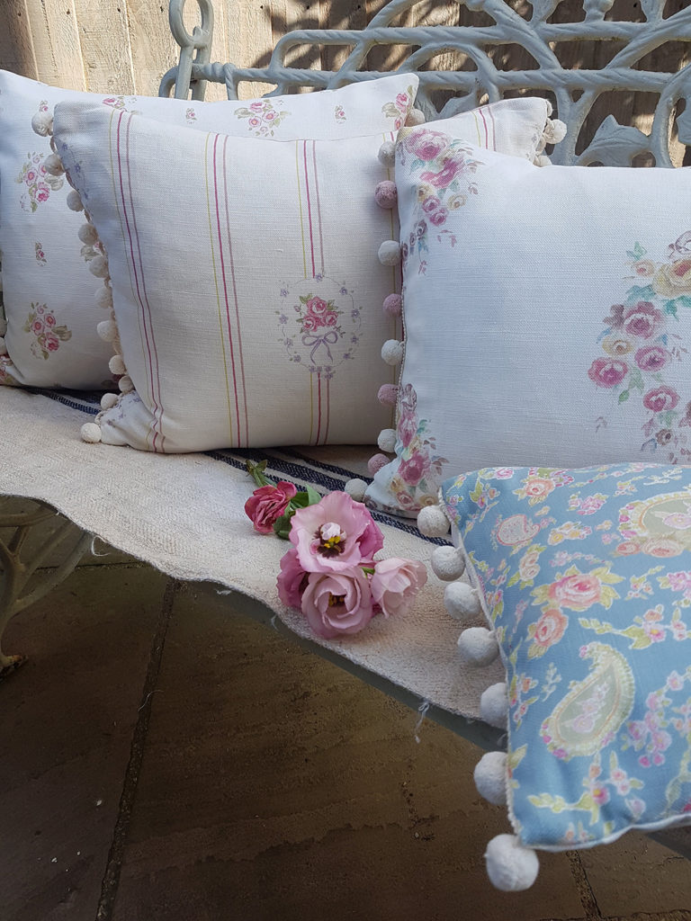 Rose and Foxgloves Vintage Floral Linen Cushions