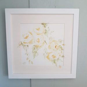 Rose and Foxgloves Watercolour Painting The Cottage Rose