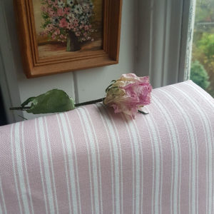 Dusky Pink Vintage Ticking Stripe Linen-2- Rose and Foxgloves