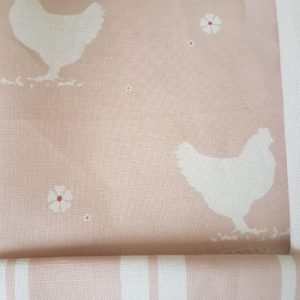 Hens and Daisies on pink linen fabric by Rose and Foxgloves
